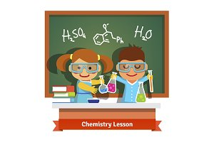 Kids having fun at chemistry lesson
