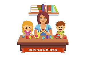 Kindergarten teacher with kids