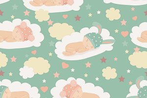 Baby theme seamless pattern