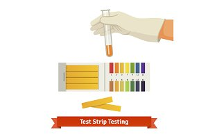 Hand holding test tube with pH