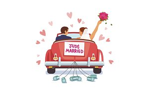 Couple is driving for honeymoon