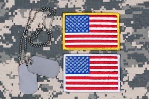 USA Flag Patches on uniform with tag