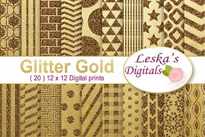 Gold Glitter Digital Paper Pack