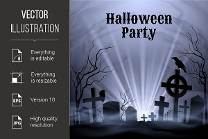 Halloween Party with eery white ligh
