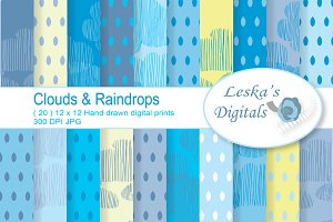 Rain and Clouds Digital Papers