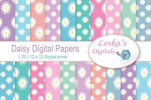 Daisy Digital Paper - Pastel Rainbow