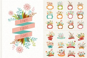 Flowers with ribbons & frames