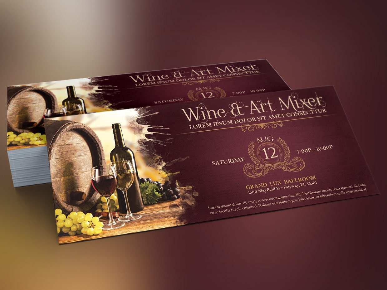 Vintage Wine Art Mixer Flyer Flyer Templates Creative Market