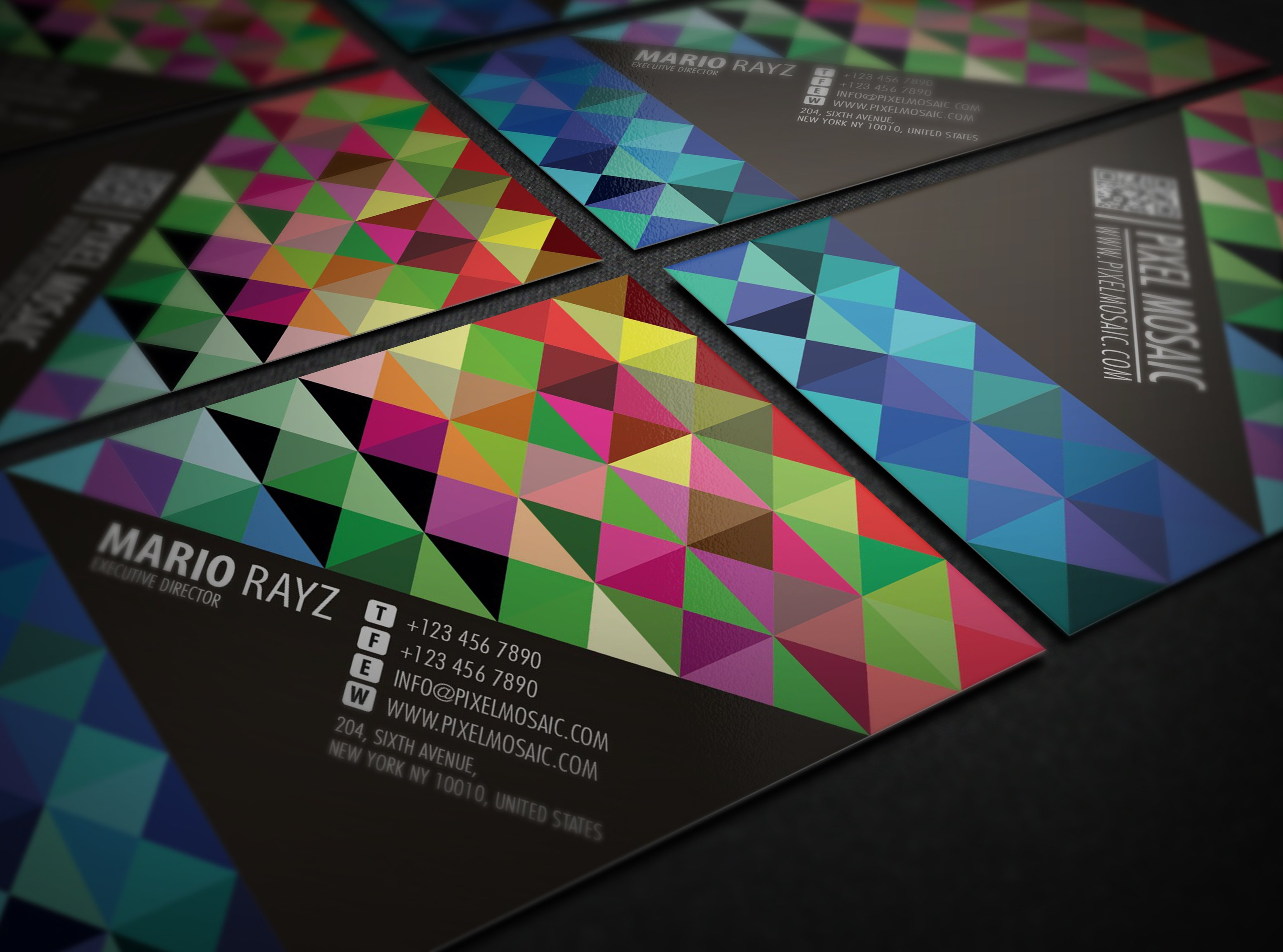 Pixel Mosaic Business card ~ Business Card Templates ~ Creative Market