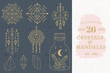Geometri Crystals & Mandalas EPS,PNG