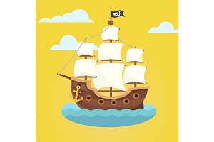 Pirate ship with white sails