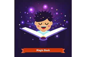 Boy kid reading magic book