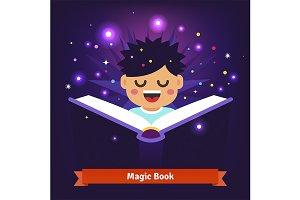 Boy kid reading magic book