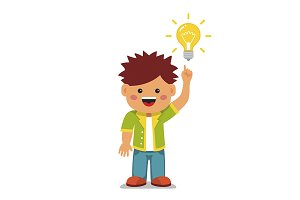 Smart kid having a bright idea