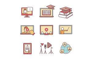Online seminar icons
