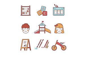 Kindergarten education icons