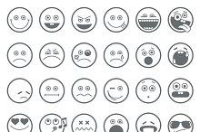 Smiley, emoticon vector line icons