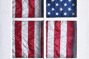 American Flag Behind Door