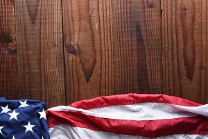 Horizontal American Flag on Wood