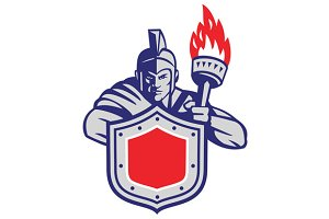 Greek Warrior Shield Torch Retro