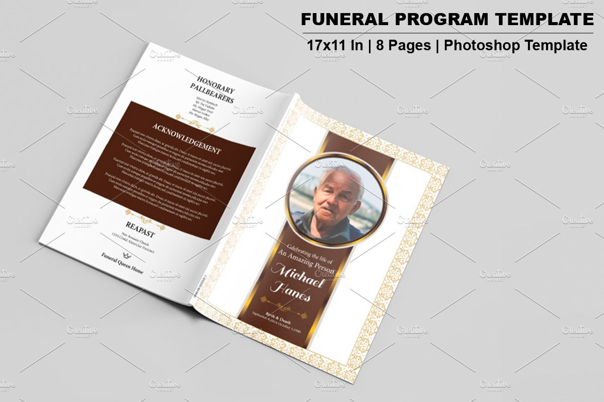 Funeral Program Template-8 Page-V533 ~ Brochure Templates ~ Creative ...