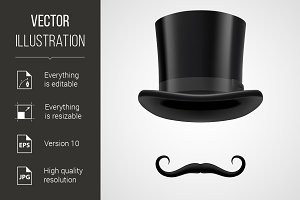 moustaches and top hat victorian ari
