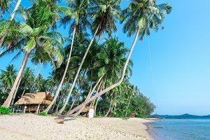 Tropical beach with sea, blue sky