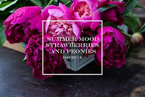 Summer mood. Strawberries & peonies