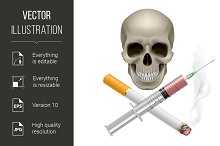 Realistic skull with a cigarette and