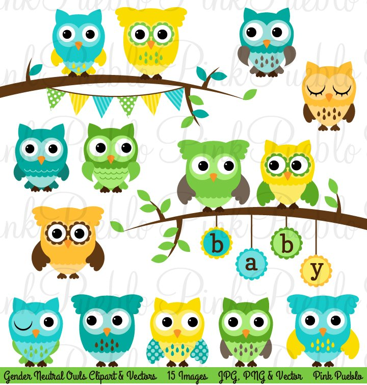 Gender Neutral Baby Shower Owls Illustrations Creative Market