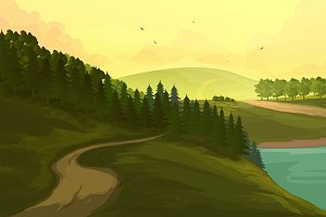 Illustration with Hills and Forest