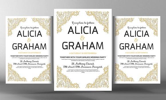 the wedding invitation flyer flyer templates creative market. Black Bedroom Furniture Sets. Home Design Ideas