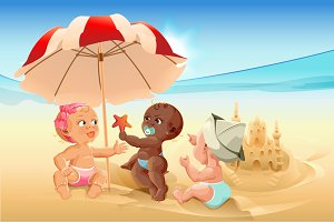 Three baby playing on beach