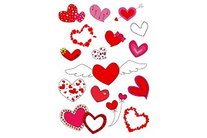 Set of Hearts on white background