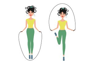 Girl jumping rope vector