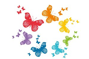 Beautiful butterflies vector set