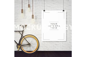 8x10 Hanging Paper Hipster Mockup