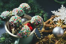 Christmas background with cake pops