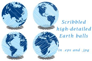 Scribbled high-detailed Earth balls