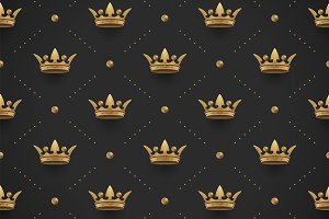 Seamless gold pattern with crowns