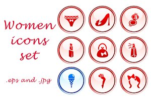 Women icons set of 9
