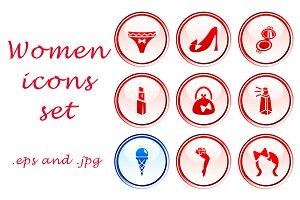 Women icons set of 9