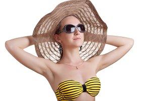 woman sunbathes on the sun