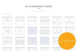 45 flowchart vector screens (2 px.)