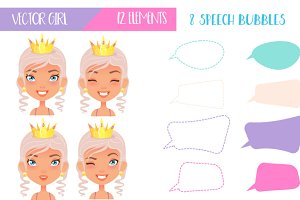Vector Girl - Speech Bubbles Set