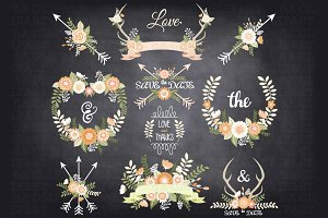 Chalkboard Wedding Floral ClipArt