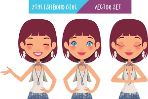Stylish boho girl - Vector set