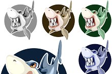 Set of wicked sharp-toothed sharks