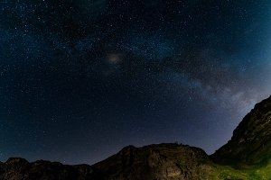Milky way over the hills