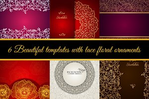 Templates with floral ornaments